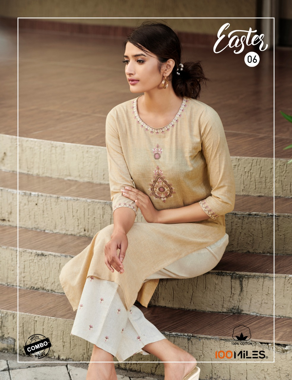 100 MILES - EASTER KURTI WITH COMBO PANT