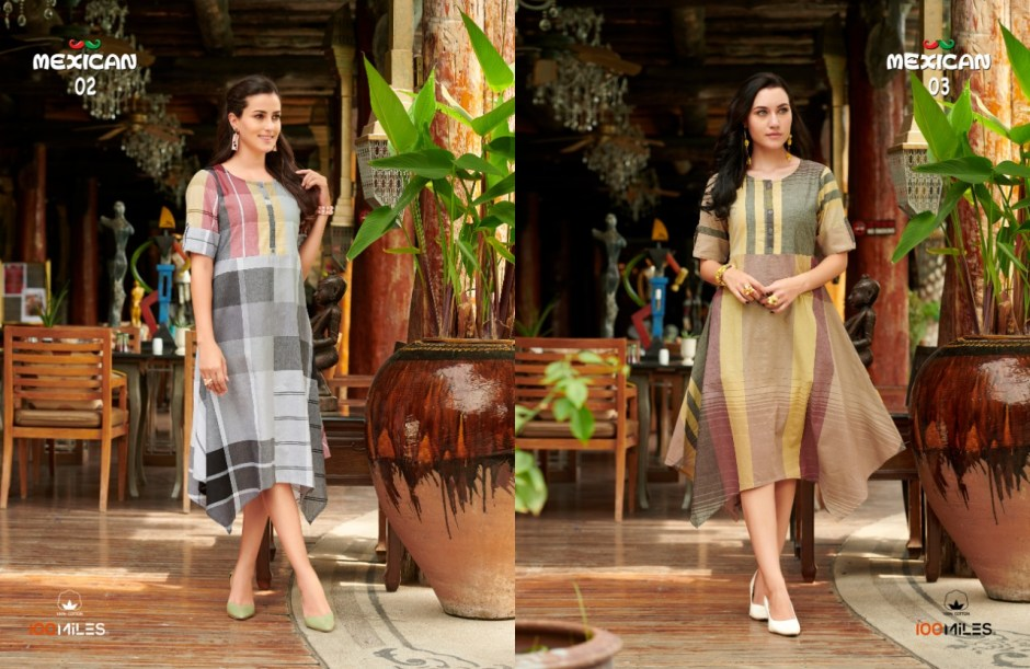 100 miles Mexican elegant and Modern Trendy cotton checks pattern Designed Kurties
