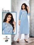 100 miles ocean cotton classic trendy look kurti with bottom catalog