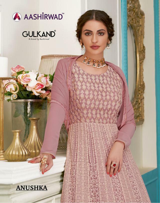 aashirwad anuskha stunning look beautifully designed salwar suits