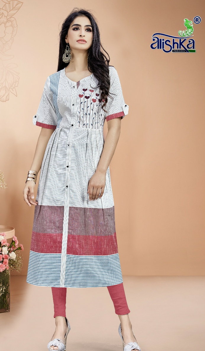 Alishka fashion peark moden and classic cotton with handwork Kurties