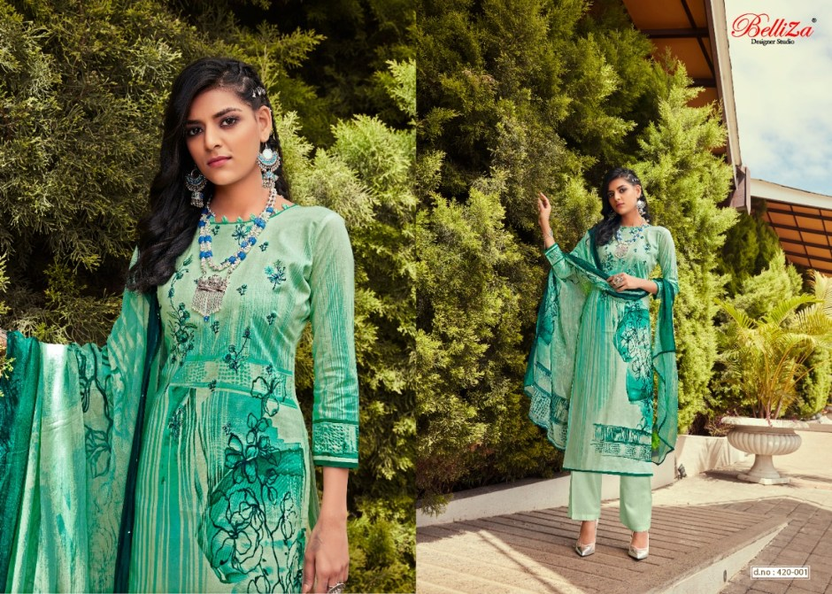 Belliza Mahira cotton digital print with Embroidered Salwar suits