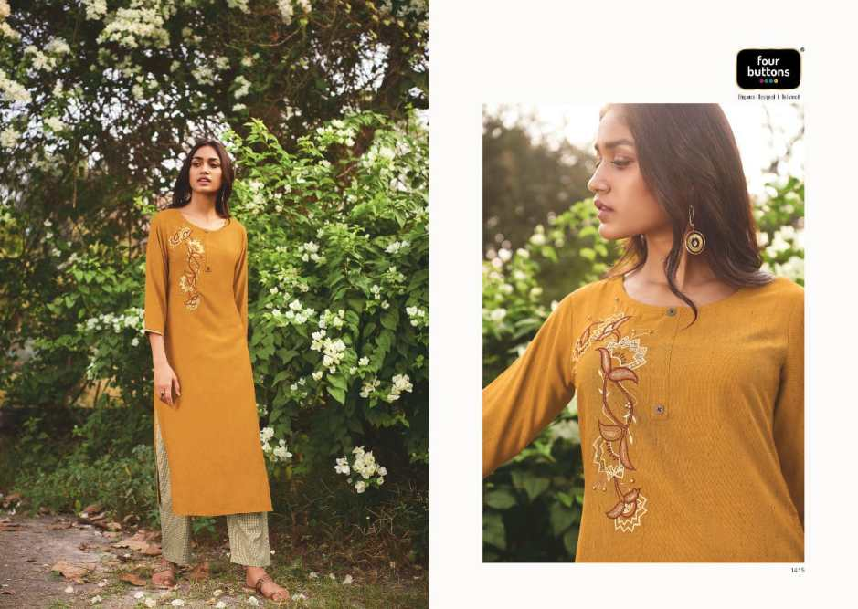 four buttons iris beautiful kurties with bottom collection at wholesale price