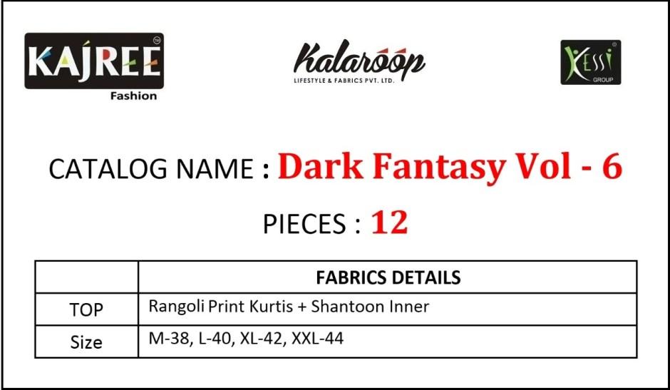Kalaroop dark fantasy vol-6 innovative style beautifully designed Kurties
