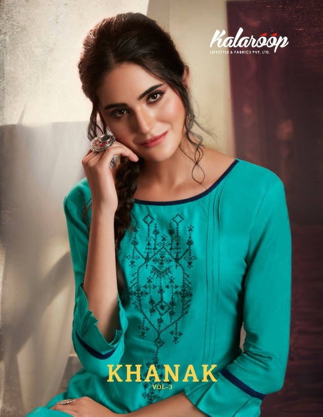 Kalaroop Khanak Vol-3 taking to fantasies Kurties in wholesale prices