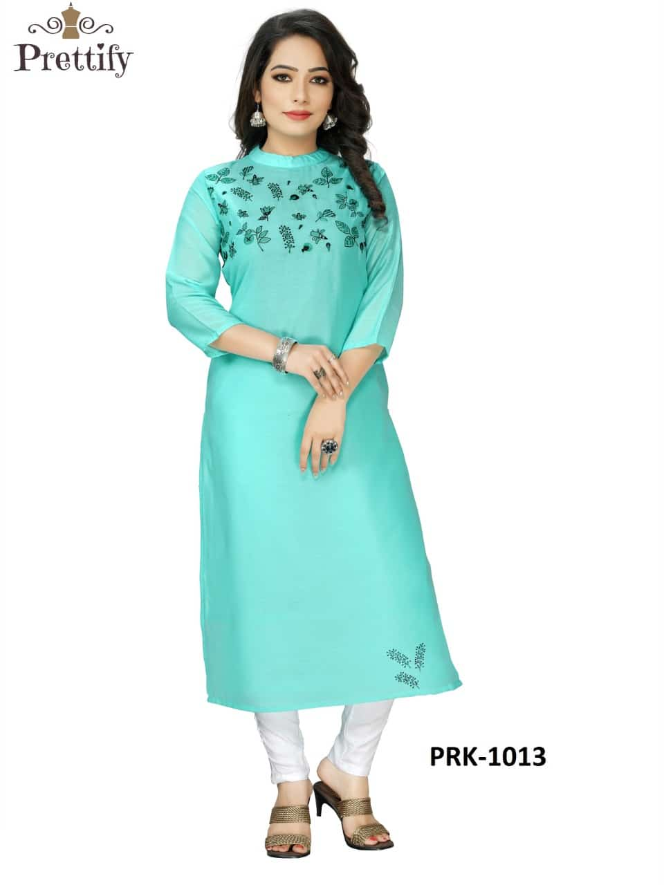 prettify 1013  decent embroidary kurti set