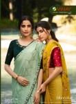 vinay fashion sheesha saffron chiffon grandeur look saree catalog