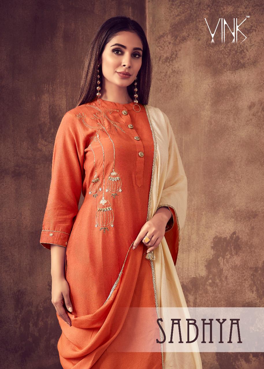 vink sabhya new and modern style kurta bottom and dupatta catalog
