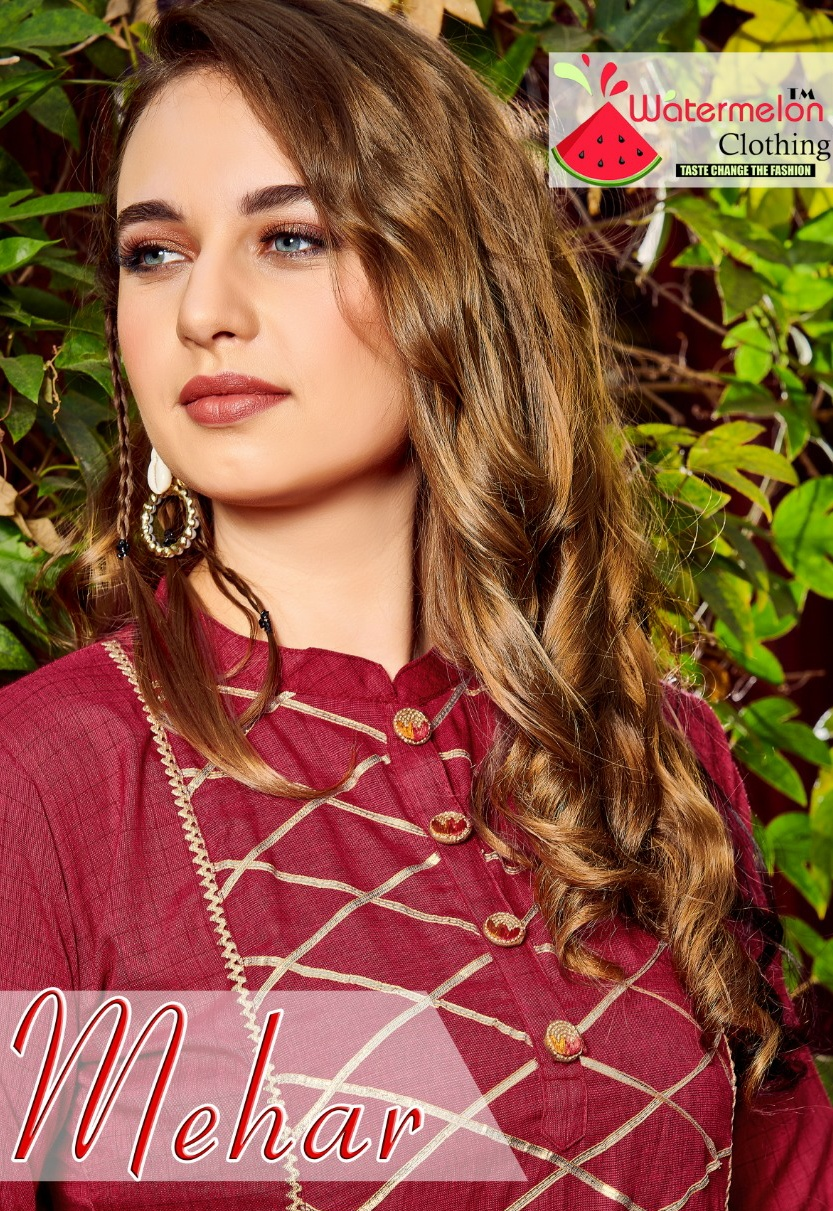 Watermelon mehar classy catchy look attractive modern Style Kurties