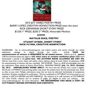 Cutthroat Prizes for Poetry, Creative Nonfiction, Fiction — Deadline October 20!