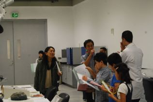 Ms. Nishisaka and Mr. Negm, Organic lab introducing the lab, and students listen eagerly and taking notes