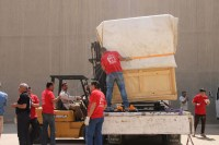 The arrival of the bed and the chariot to the Grand Egyptian Museum