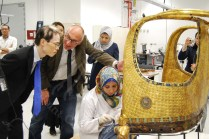 Dr Tarek showing his Excellency the labs and explaining to him the history of some of the artifacts