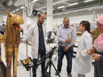 Japanese and Egyptian experts using XRF