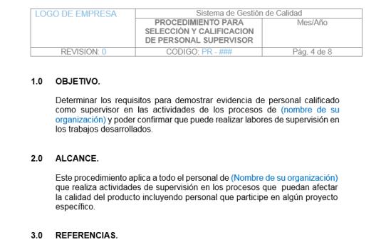 Procedimiento de Selección y Evaluación de Personal Supervisor