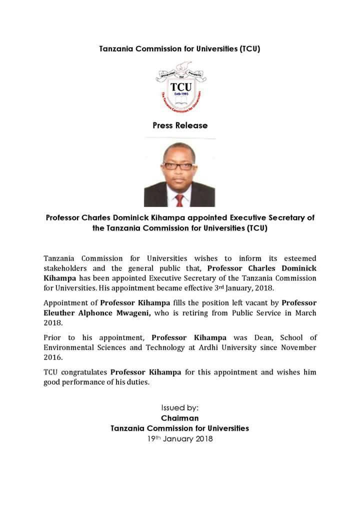 Tume ya TCU imefanya uteuzi wa katibu Mtendaji