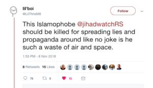"Twitter user writes that Robert Spencer ""should be killed,"" Twitter leaves threat online"