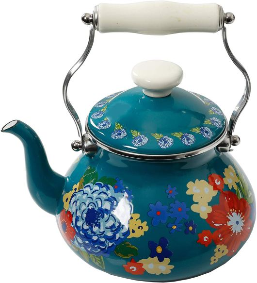 Floral design Tea Kettle with Enamel Finish