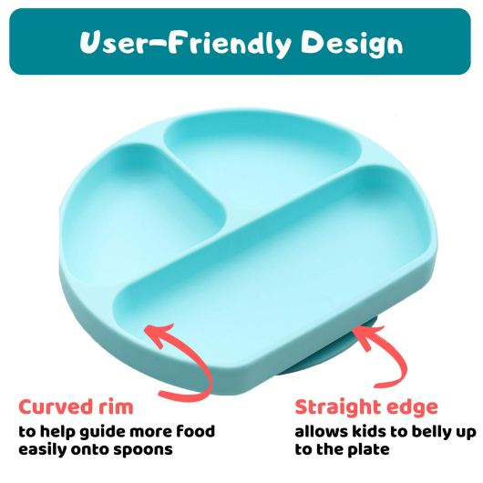 Silikong Suction Toddler Plate for Baby feeding that stick to table and fits highchair trays