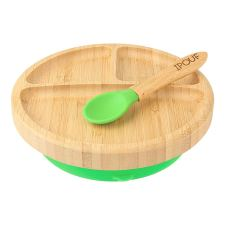 Natural Bamboo children suction plate that can stick to the table