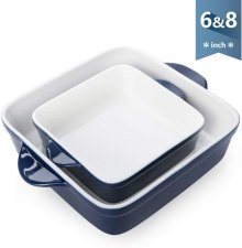 Porcelain square Lasagna Pans with Double Handle