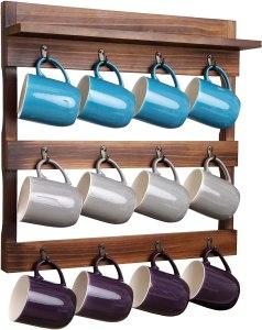 coffee mug display collection wall mounted shelf