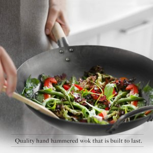 hand hammered best carbon steel flat bottom Wok for Electric, gas and Induction stove top