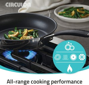 Circulon stainless steel non-stick cookware set for all cooktop like gas, electric and induction stove tops.