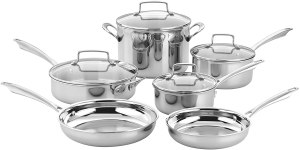 Cuisinart best stainless steel pots and pans cookware for induction, electric stovetop and gas cooktop