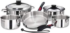 best pots and pans for electric stove - Magma nesting stainless steel cookware for ceramic and gas stovetops