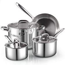 Cook N Home tri-ply clad cookware set suitable for induction, electric and other stovetop surfaces