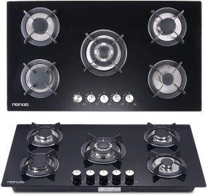 Gas cooktop with tempered glass burner