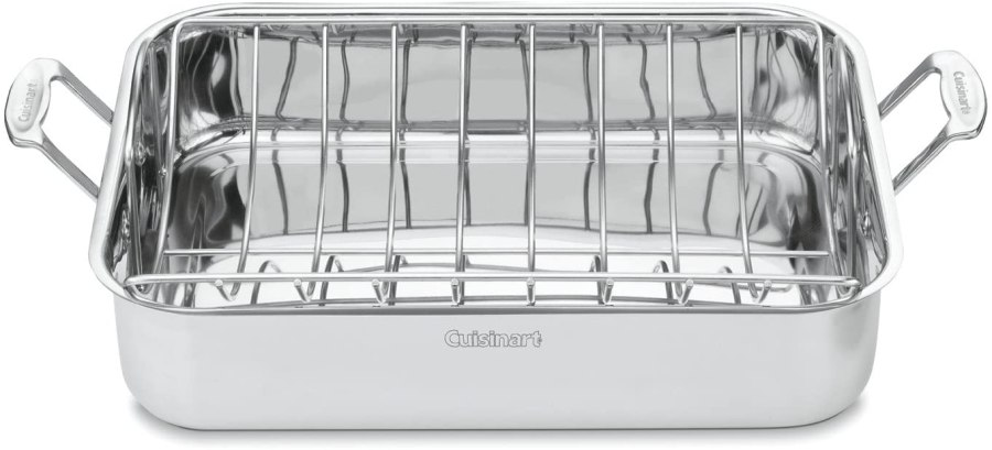 Stainless steel Cuisinart chef's roasting pan with rack