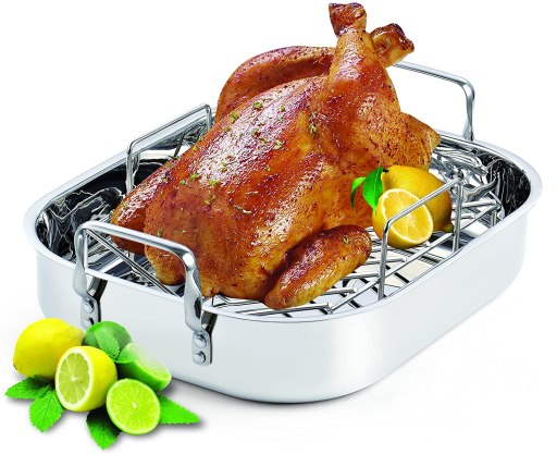 16-Inch by 13-Inch Stainless Steel Roaster with Rack for prime rib roast