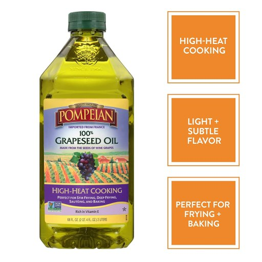 Grapeseed oil for high heat and used for seasoning cast iron skillet