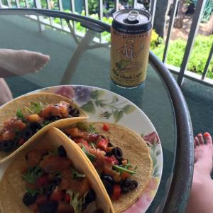 Tacos and a Bikini Blonde beer on our lanai. #BestLife