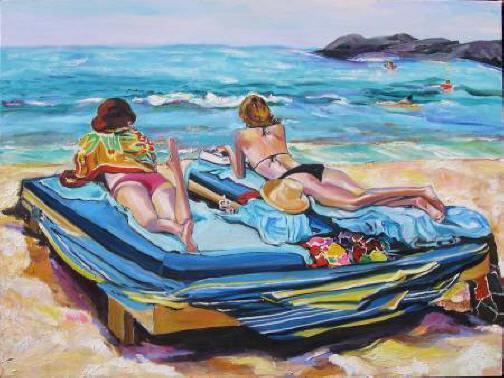 Duas das três novas mulheres de Larsson em sua vida secreta em Aruba