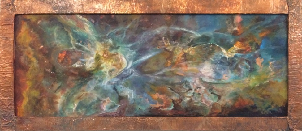 "Phi, oil on copper, 101"" x 48"", available"