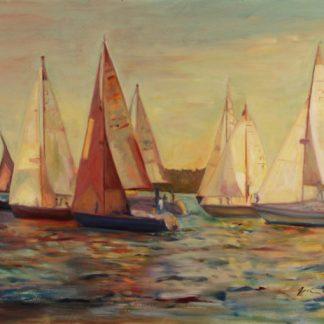 """The Race, oil on canvas, 24"""" x 36"""""""