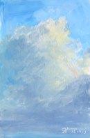 "Cloud Study, 4"" x 6"", Oil on Board"
