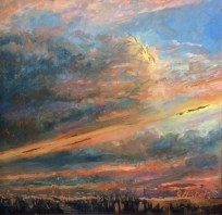 """Remaining in Glory, oil on copper, 7"""" x 7"""""""