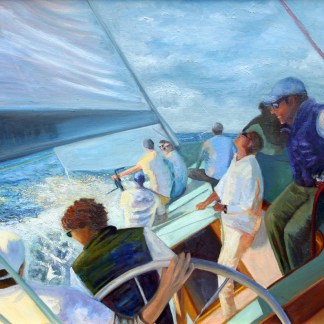 "Sailing Nefertiti, 24"" x 36"", oil on canvas"