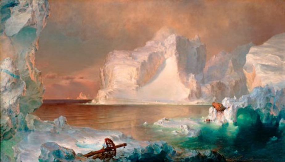 "The New York showing of The Icebergs in April 1861 marked the beginning of Church's engagement with the civil war effort. Just outside the exhibition hall regiments of soldiers marched before cheering crowds as they shipped out to Baltimore, Washington, D.C., and Virginia.  In solidarity with the Union soldiers he renamed his painting ""The North"" and donated the proceeds from the show to support the patriotic fund."
