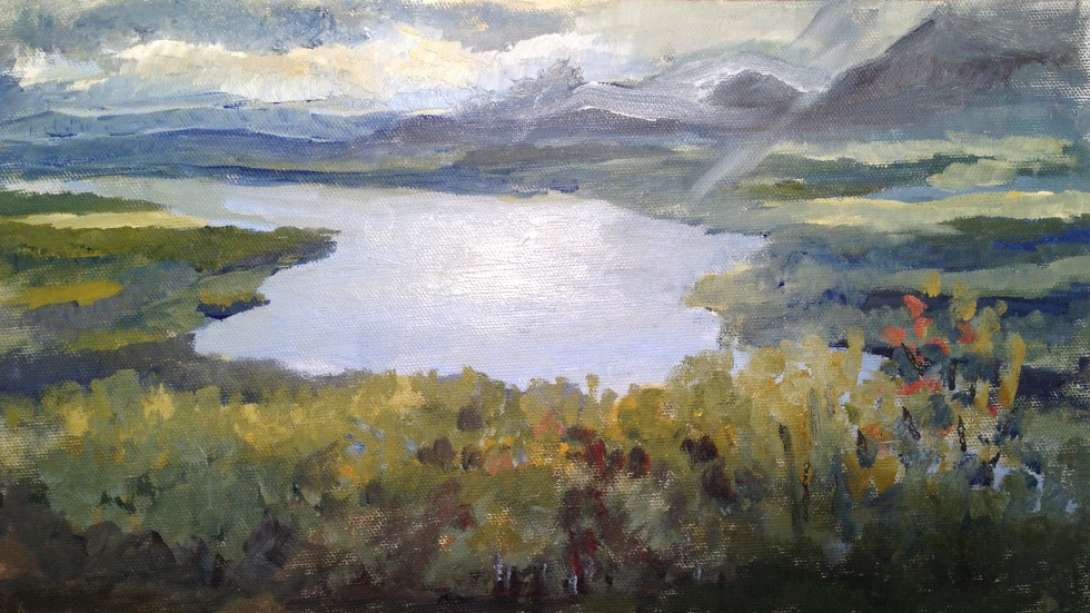 Jill Nichols, Olana at the bend of the River, Sketch, 2014.  Painted from the front of Olana on my first visit. The vegetation has grown in the 100 plus years since CHurch painted there. Storm clouds gathered forcing me to run for my car.