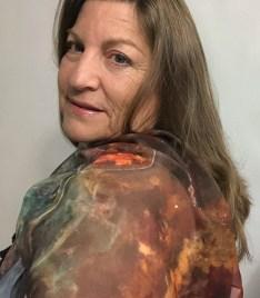"Jill, 2020, wearing her ""Phi"" scarf, available in Jill's Art Shop"