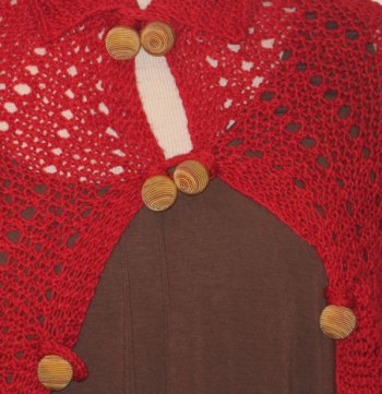 Red Windsor Capelette Buttoned
