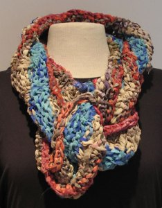 Arm Knitted Esperance Cowl in Soft Recycled Silk Ribbon