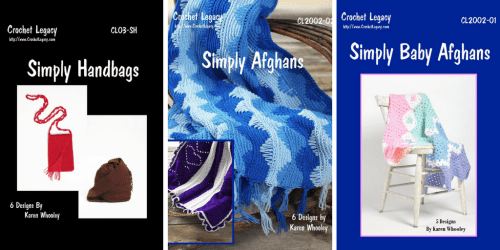 """Karen Whooley's Original Self-Published Crochet Patterns, the """"Simply Series"""""""