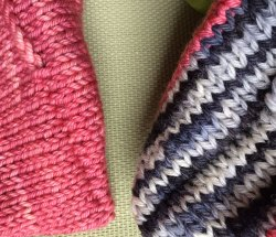 Smooth Ears: Right side of the 3-needle bind off