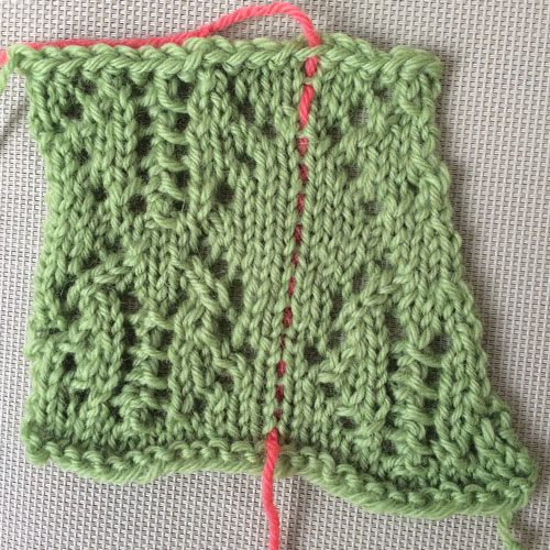 Eyelets: Decreases knitted from chart below